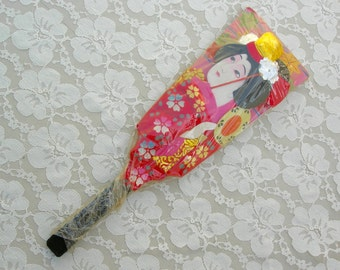 Japanese Geisha Hagoita (battledore, padded paddle), hand-crafted, hand-painted
