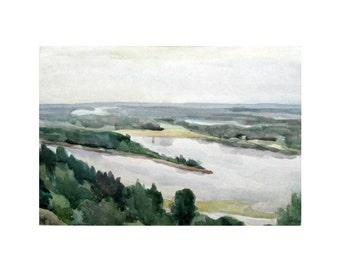 Vintage Watercolor Painting - Lake