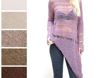 Loose Irregular Sweater. Choose Your Nude.