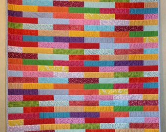 Crazy Brick Wall Baby/Crib Quilt ~ Quilted