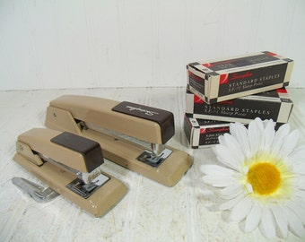 Vintage Swingline Staplers Collection - Retro Set of 2 Staplers and 3 Boxes of Swingline Staples - Industrial Brown Office Supplies Grouping