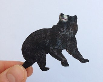 Black Bear Country Wooden Brooch Pin Gift Laser Cut For  Outdoors California Gift for Californian Yosemite Woodland