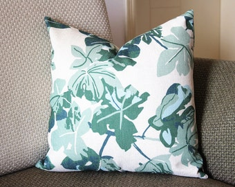 Fig Leaf Pillow Cover - Decorative Pillow - Green Leaf  Throw Pillow 14x18, 16x16, 18x18, 20x20, 22x22 431