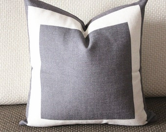 10 colors gray Cotton Canvas Decorative Throw Pillow Cover with Off White Grosgrain - Cushion Covers-Geometric-18x18,20x20,22x22 339