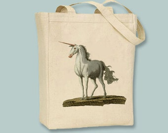 Unicorn Vintage Illustration Canvas Tote -- Selection of sizes available