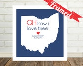 OHIO Map Print Custom Wedding Gift Personalized Framed Art Wedding Gifts Unique Wedding Gift Valentines Day Gift for Boyfriend Gift for Him