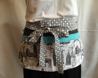 Utility Apron/Teacher Apron with 8 pockets and loop in black white turquoise paris rome london fabric
