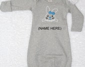 Baby Girls First Easter Outfit/PERSONALIZED/Newborn Baby Gown/0-6 Months/Gray Baby Gown/Embroidered Easter Bunny and Name