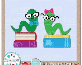 Bookworm Couple Cutting Files & Clip Art - Instant Download
