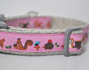 Hemp Webbing Dog Collar  - 'Pink Forest'  - 50% Profits to Dog Rescue - Small to Medium Size