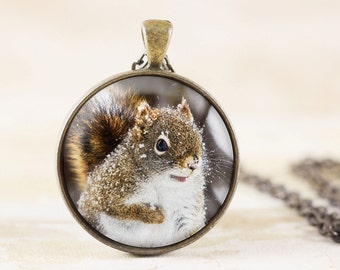 Snowy Squirrel Necklace - Winter Animal Jewelry Pendant, Red Squirrel Jewelry, Squirrel Animal Necklace, Squirrel Photo Jewelry, Nature Gift