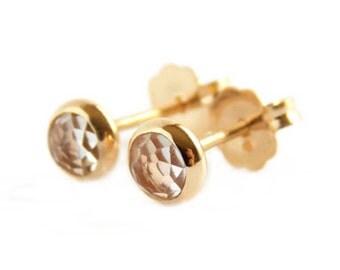 Rose Cut Stud Earrings: post earrings, simple earrings, stud earrings, dainty earrings, birthstone studs, rose cut earrings, rose cut stones