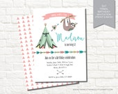 Tribal Tee Pee Geometrical Woodland Camping Birthday Digital Party Invitation