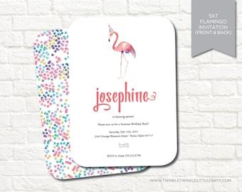 Watercolor Flamingo Printable Birthday Party Invitation