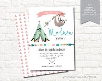 Tribal Tee Pee Geometrical Woodland Camping Birthday Digital Party Invitation