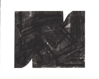 "SALE  25% OFF everything. Use code 25OFF. Etching . Abstract . Geometric . Black and White Home Decor: ""Hodden 2"".  Size 12"" x 14"". unframed"