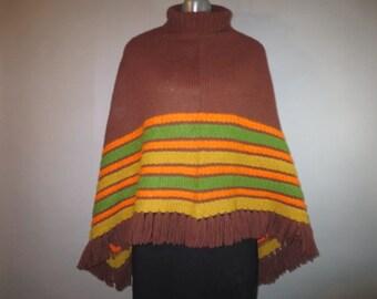 Knit Poncho // Turtleneck, Brown, Orange, Green Poncho // Fringed Edge
