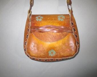 Hippie Purse // Flowered Boho Hand Tooled Bag // Long shoulder Strap