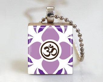 YOGA Namaste - Scrabble Pendant Necklace with Ball Chain Necklace or Key Ring