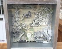 "3D Vintage Illustration Papercut Shadowbox: ""Spring Song"""