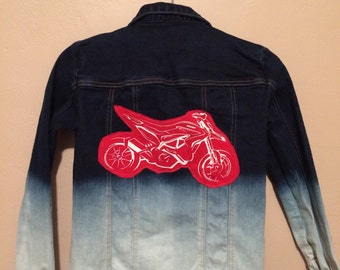 Ombre denim jean shirt with Ducati Motorcycle patches