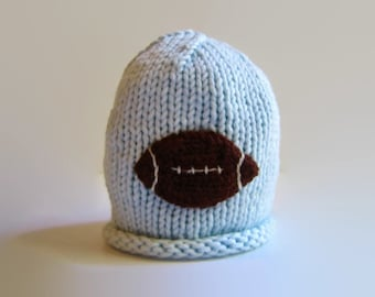 Baby FOOTBALL Hat - newborn hat - knit baby cap - knit baby beanie - knitted child's cap - baby shower gift - boy's knit hat