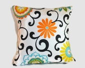 Floral decorative throw pillow cover. 1 cover for 20x20 cushion insert. Orange blue green yellow and black. Traditional classic cottage chic