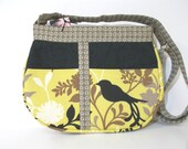 Cross Body Purse, Shoulder Bag, Bird Pattern, Spring Green