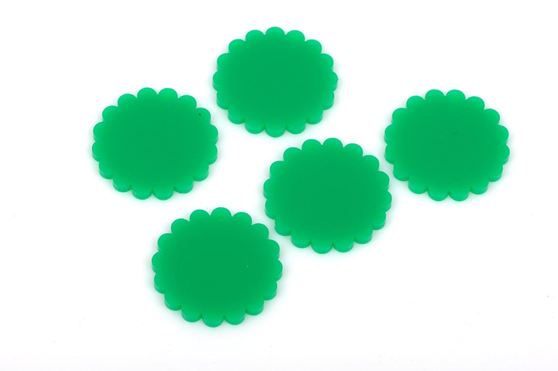 10 CIRCLE Disc FLOWER Laser Cut Acrylic shapes Kelly Green