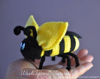 Washcloth Bee, Baby Washcloth Bumble Bee , WashAgami® , Instructional Video