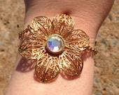Vintage Flower Bracelet-Filigree Flower with crystal bracelet-Bridal Jewelry-Prom Jewelry-Mother,sister,daughter gift