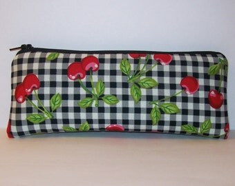 """Padded Pipe Pouch, Cherries & Gingham, Glass Pipe Case, Pipe Bag, Glass Chillum Cozy, Vape Pen Case, Padded Pouch, Stoner Gift - 7.5"""" LARGE"""