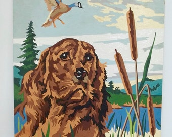 Vintage Paint By Number Irish Setter Duck Hunt