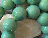 Statement Ceramic Beads Blue Green Summer Trend 18 mm  11 Beads