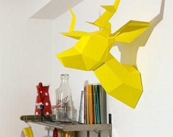 SOLDES/ON SALE Yellow Foldeer - Deer Head Papertoy