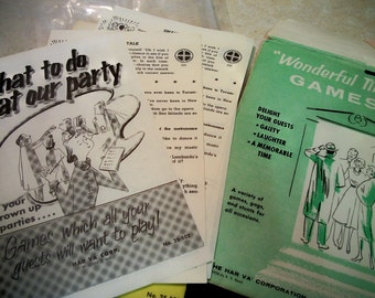 Fifties party game pages, what to do at our party and Wonderful Time games
