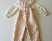 1980's Quilted Rose Bud Overalls & Blouse (18/24 months)
