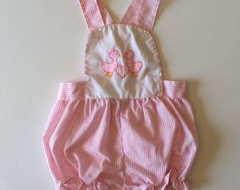 Sale Vintage Pink Goose Romper (0/6 months)