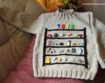 Toy Shelf Sweater Jumper - Child Size 4 to 5 - Camel Beige Color - Boy Girl Birthday - Original Hand Knit Needlework Art Sweater - Item 4639