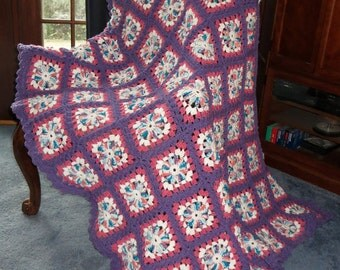 """Large Afghan Blanket - Yummy Cotton Candy Twirl Center Raspberry Sherbet Grape Soda Border - Bed or Couch Blanket Size 68"""" x 56"""" - Item 4467"""