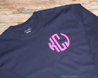 Long Sleeve Monogram Tee - Pick Your Colors - Great Gift Idea