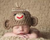 Sweet Lil' Monkey Hat - (Newborn/3-6mo/6-12mo sizes)
