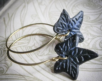 Midnight Ivy Brass Hoops. Gothic Fairy Everyday Earrings