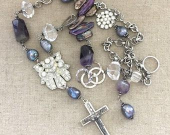 Rhinestone Statement Necklace - Vintage Assemblage Statement Rhinestone Necklace - Faith Cross Long Necklace