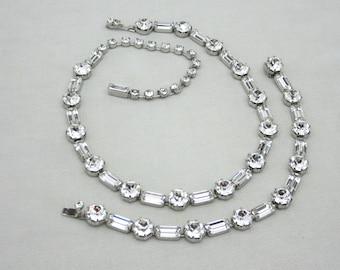 Vintage KRAMER Rhinstone Necklace Set Kramer of NY Rhinestone Bracelet Necklace Set Vintage Bridal Jewelry Set Clear Rhinestone