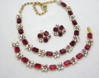Red Rhinestone Necklace Set Red Rhinestone Bracelet Set Vintage Rhinestone Parure Ruby Red Necklace Earrings Set Vintage Jewelry