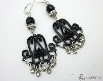 Black Chandelier Earrings Gypsy Earrings Repurposed Rhinestone Earrings Unique Jewelry for Her Unique One of a Kind OOAK Jewelry