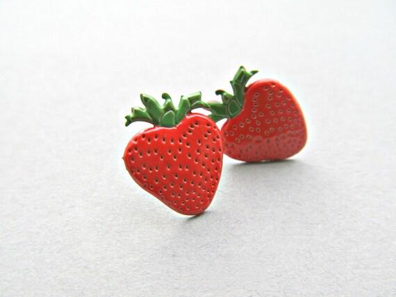 Strawberry Stud Earrings Fruit earrings, food earrings, strawberry patch