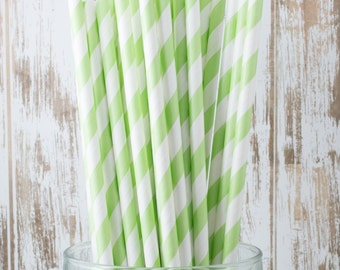 "100 Light Green Extra Long vintage barber stripe drinking straws - with FREE Blank Flag Template - see also ""Personalized"" Flags"