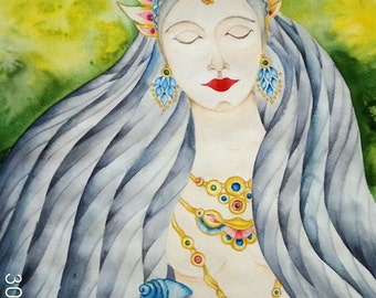 Original one of a kind watercolor artwork - The goddess - great goft for her or him